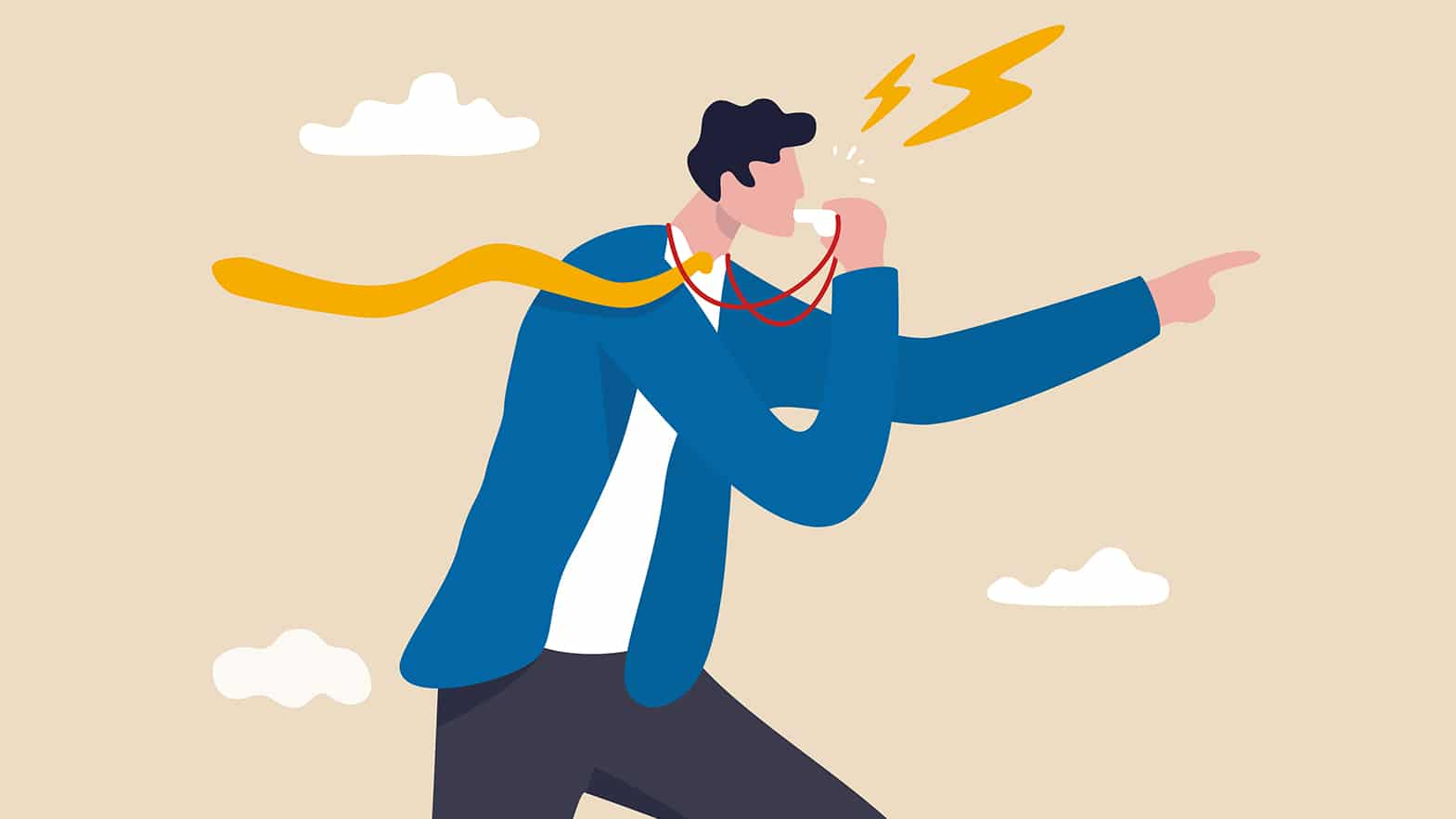 Whistleblower Rewards - Illustration of Man Blowing Whistle and Walking Fast